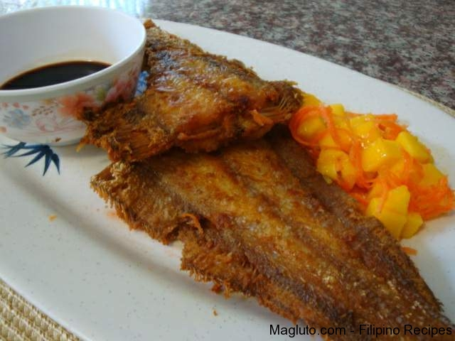 Filipino recipe pritong isda fried sole fish magluto for Sole fish recipes